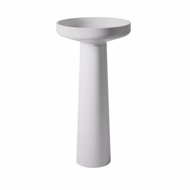 Venice 450 Basin and Pedestal Solid Surface White   Reece