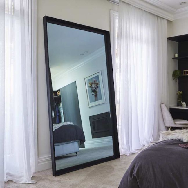 Vertical Leaner TV-Mirror with Matte Black Frame | Jesse and Mel 2019