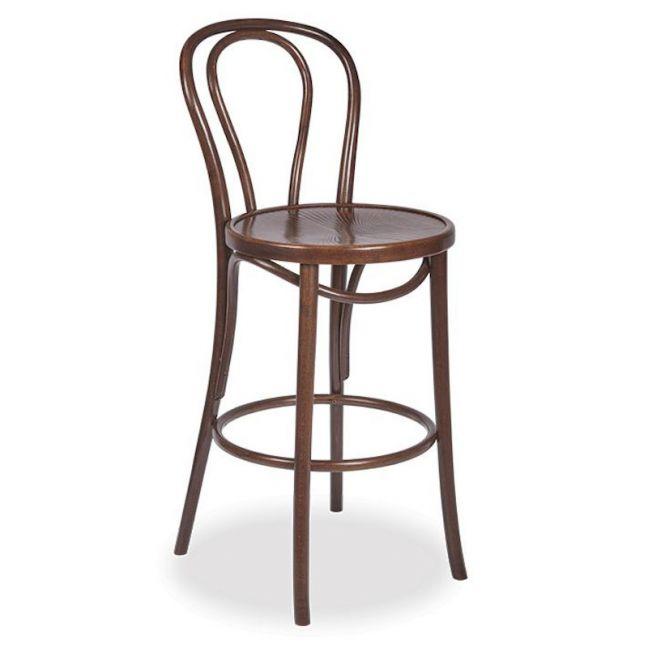 Vienna 18 Bentwood Stool Embossed Seat | Walnut