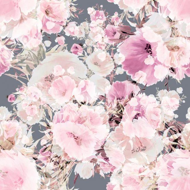 Vintage Floral Grey Wallpaper