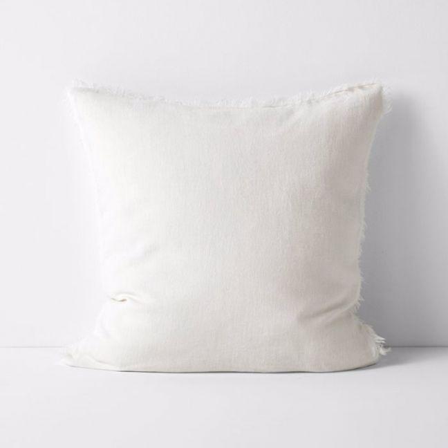 Vintage Linen Fringe Cushion   Marshmallow   By Aura Home