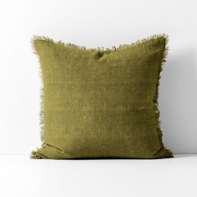 Vintage Linen Fringe Cushion | Olive by Aura Home