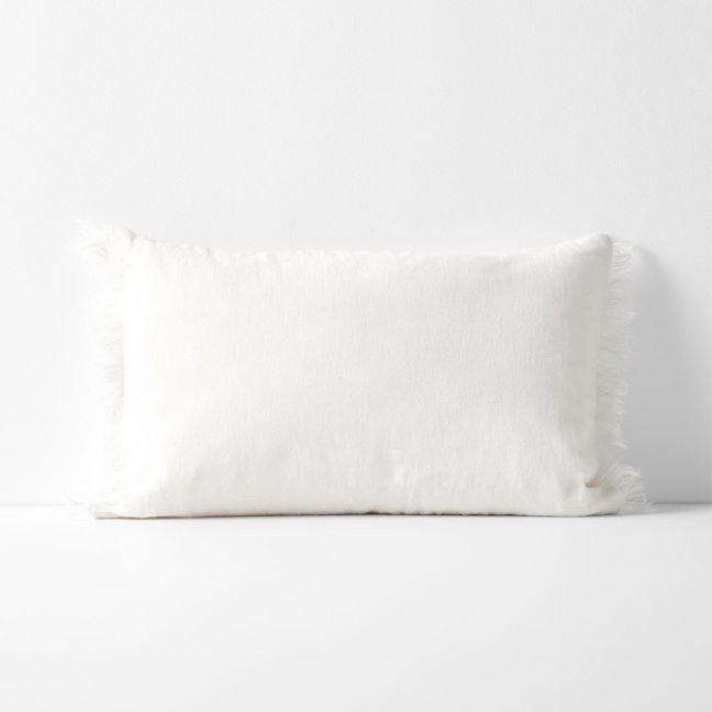 Vintage Linen Fringe Rectangle Cushion | Marshmallow by Aura Home