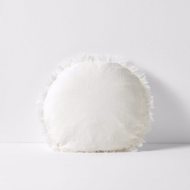 Vintage Linen Fringe Round Cushion   Marshmallow   By Aura Home