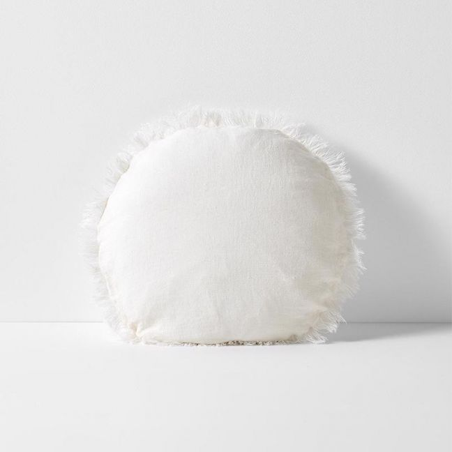 Vintage Linen Round Cushion | Marshmallow by Aura Home