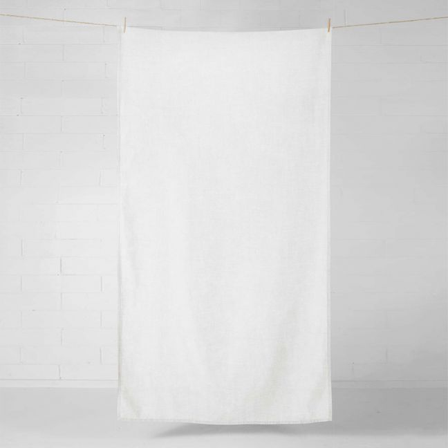 Vintage Linen Throw/Tablecloth | Marshmallow by Aura Home