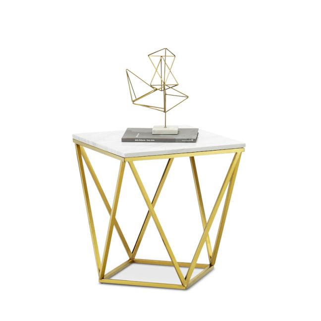 Vivianne Marble Geo Side Table   White & Brushed Gold