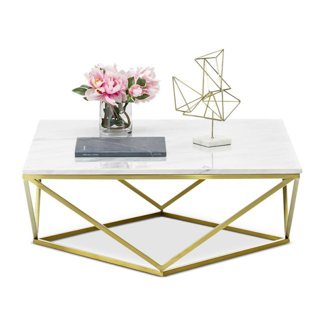 Vivianne Marble Square Geo Coffee Table   White & Brushed Gold