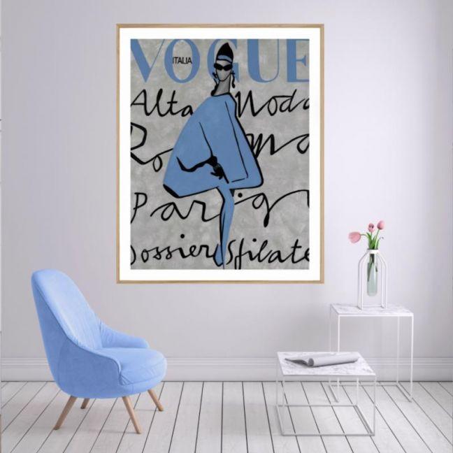 Vogue Dress   P2004 Blue   Framed Print   Colour Clash Studio