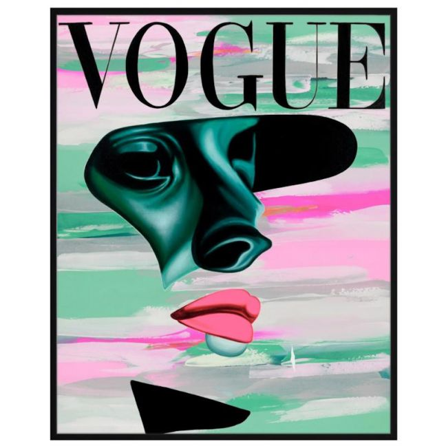Vogue Shadow Background | P2016-Pink Background | Framed Canvas Print
