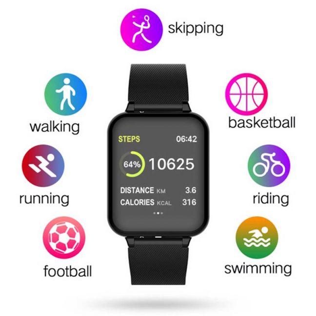 Waterproof Fitness Smart Wrist Watch Heart Rate Monitor Tracker Black