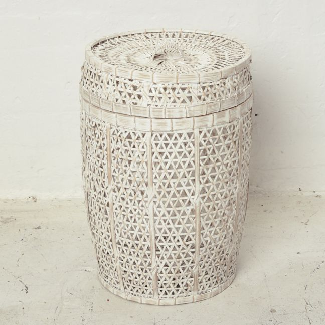 Whitewash Bamboo Laundry with Lid l Pre Order