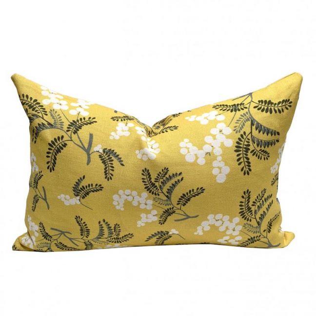 Wild Wattle Yellow Linen Cushion | By Tim Neve