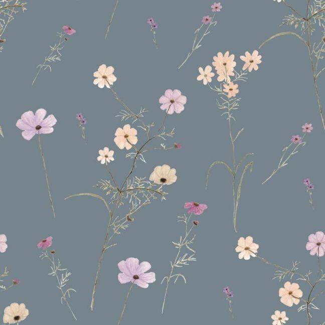 Wildflower Garden Grey Blue Wallpaper