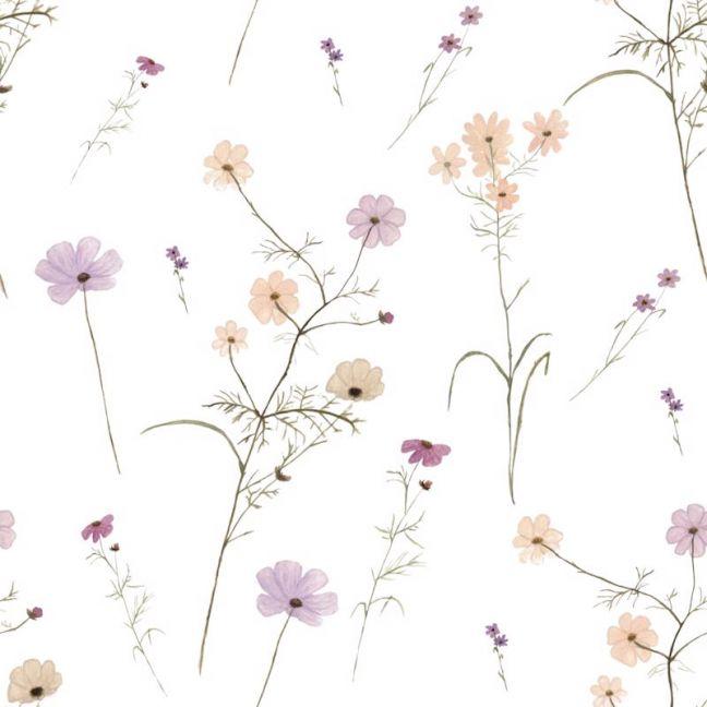Wildflower Garden White Wallpaper