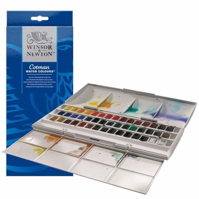 Winsor & Newton Cotman   Watercolour Half Pan Studio   Set 45