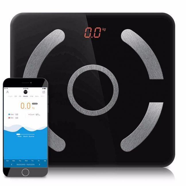 Wireless Bluetooth Digital Body Fat Scale Bathroom Health Analyser Black