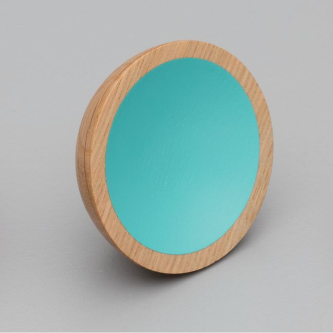 WOK Knob | Oak with Turquoise