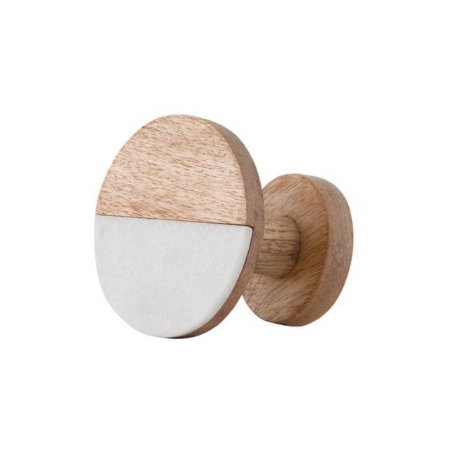 Wooden Hook | Medium Marble & Natural Wood