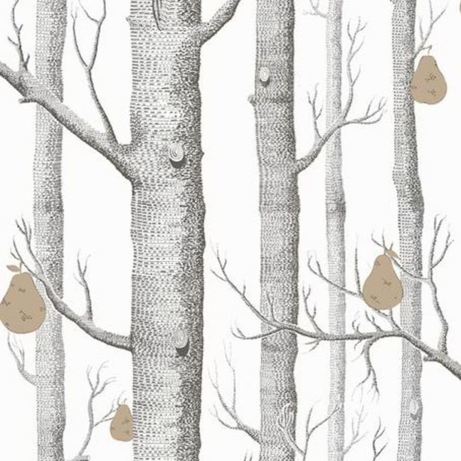 Woods & Pears wallpaper | Black, White & Gold