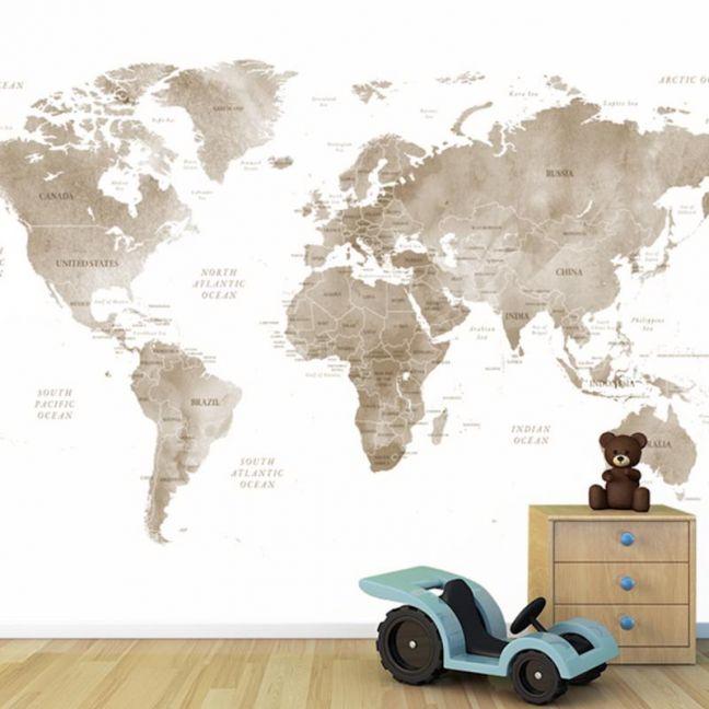 World Map | Sepia | Full Wall Mural