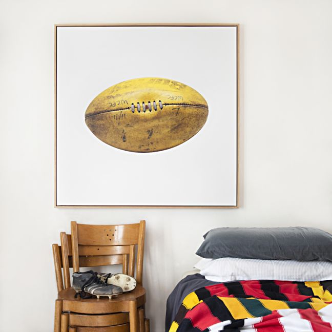 Worn Yellow Football Canvas