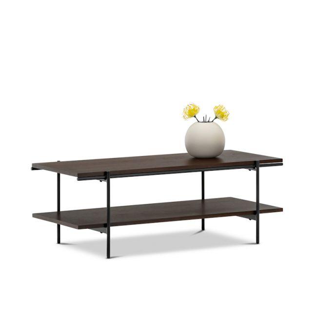 Xaviar Rectangular Dual Shelf Coffee Table | Dark Walnut & Black