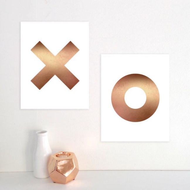 XO Prints   Set of 2   Marble or Copper