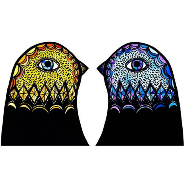 Yellow & Blue Bird Heads - Various Sizes