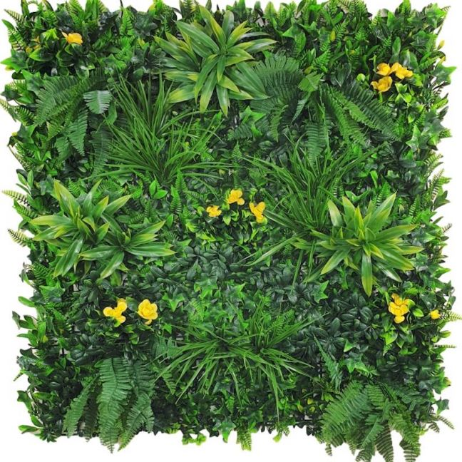 Yellow Rose Vertical Garden | Green Wall UV Resistant | 100cm x 100cm