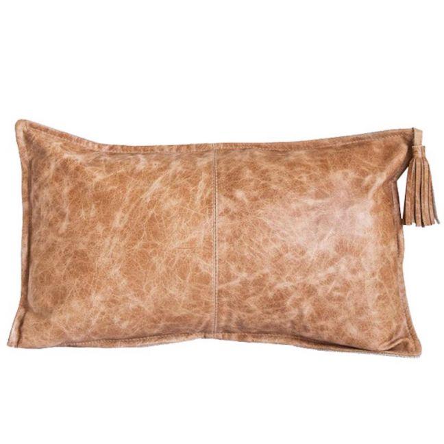 Yoko Leather Cushion   Tan   by Klovah