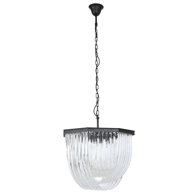 Zeal Small 8 Light Chandelier in Antique Black/Crystal